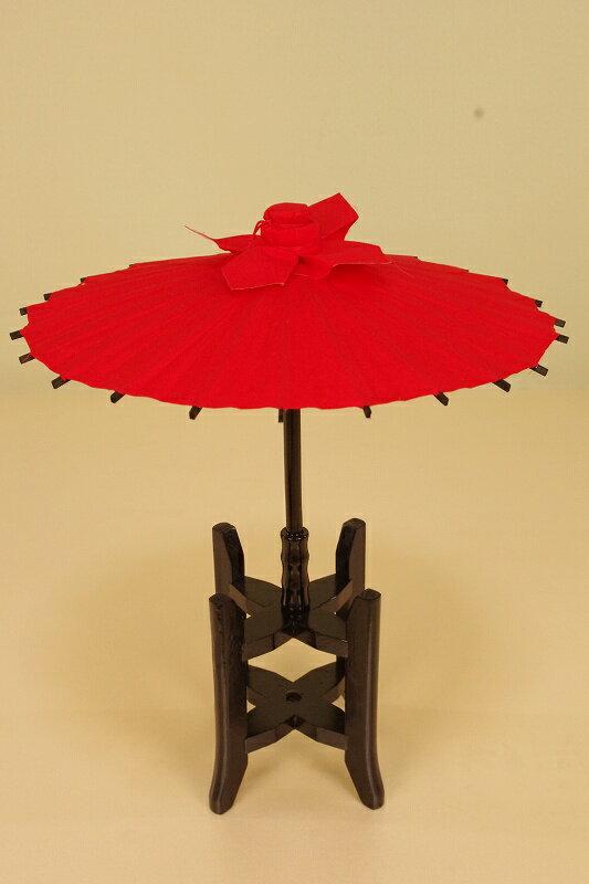 さげもん美草 布張り柄付き傘飾り糸車木枠セット 朱赤ベタ(蔦模様)傘福