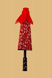 さげもん美草 布張り柄付き傘飾り 赤和柄 白抜き桜模様 高さ26cm 傘福