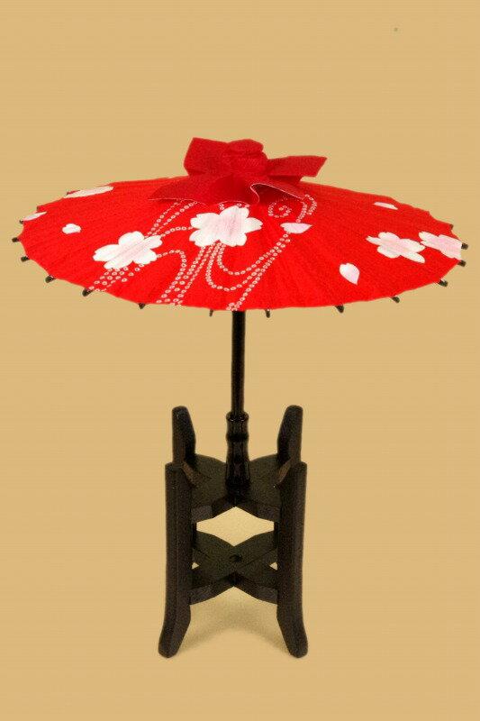 さげもん美草 布張り柄付き傘飾り糸車木枠セット 桜鹿の子模様 傘福