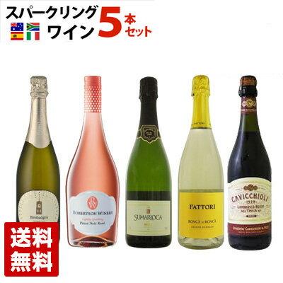 スパークリングワイン 世界各国飲み比べセット 5本セット 750ml 泡 発泡 送料無料
