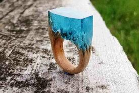 匠の技!天然木レジンの逸品アクセサリー「指輪リング」希望のリングサイズで製作!色違い製作もOK!