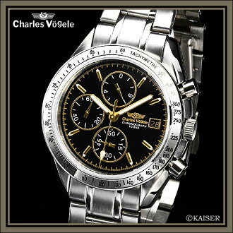 Charles Hagel Charles-Holger /Charles Vogele / chronograph analogue / made in Japan quartz movement / watch / list / watch / tachymeter / 10 pressure waterproof / stainless-steel / Black / Silver / Gold / White /CV-7937-3 fs2gm