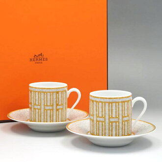 Hermes HERMES Cup & Saucer 026017P Mosaique Au 24 mosaic of van Castle coffee cup pairs gold