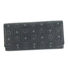 エムシーエム MCM 財布 MYL6SVC48 FLAP WALLET/TRI-FOLD LARGE フラップ 三つ折り長財布 BK001 ブラック+シルバー