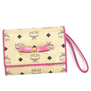 MCM エムシーエム 名刺入れ MYS7SLL07 CARD CASE WITH WRISTLET ストラップ付 リボン カードケース BEIGE IG001 ベージュ+ピンク 母の日プレゼント 女性 誕生日 ギフト 贈り物 彼女 入学祝 卒業祝い 就職祝