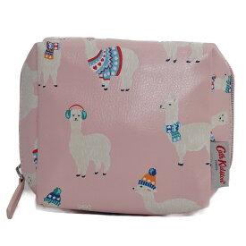 キャスキッドソン Cath Kidston ポーチ 化粧ポーチ マルチポーチ 786256 SQUARE MAKE UP BAG スクエア メイクアップバッグ SOFT BLUSH Mini Alpacas アルパカ柄ライトピンク系マルチ