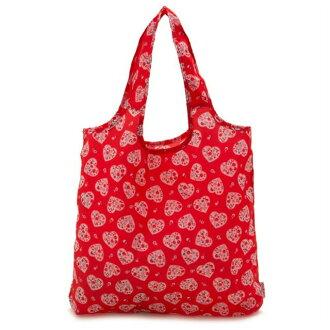 카스 키드 손 Cath Kidston 에코 가방 토트 백 서브 가방 Foldaway Shopper Red Pink Flower Heart 하트 플라워무늬 레드계 멀티 759373