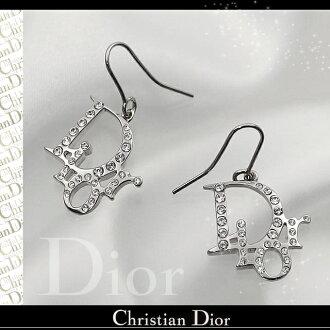 Christian Dior Christian Dior earrings Dior logo pierced earrings silver X crystal