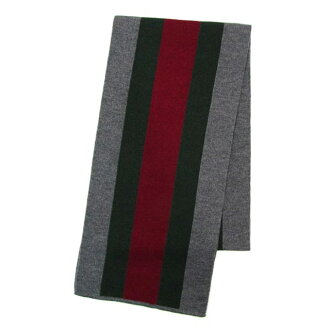 Gucci by GUCCI 206086 4G869 1266 webbing pattern scarf grey: green / red / green mens women's scarf brand Gifts Christmas white Valentine's day
