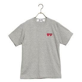 コムデギャルソン COMME des GARCONS Tシャツ ティーシャツ メンズ az-t226-051-3 PLAY T-SHIRT DOUBLU HEART プレイ ダブルハートロゴ 半袖 GREY×RED グレー×レッドハート