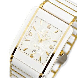 手腕的手表男人男装约翰 Harrison 约翰 Harrison 白色黄金钻石品牌手表 udedokei 金属带手表