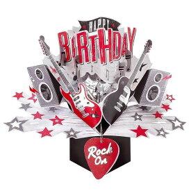 セカンドネイチャー ポップアップカード バースデー ロック オン POP174 誕生日 ギター 楽器 3D メッセージカード イベント