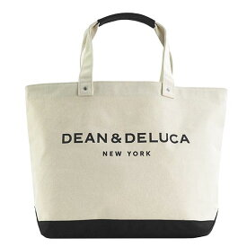 ディーンアンドデルーカ ディーン&デルーカ DEAN & DELUCA カラー ブロック キャンバス トートバッグ エコバッグ ショッピングバッグ ショルダーバッグ ブラック+ナチュラル ホワイト