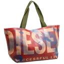 ディーゼル DIESEL バッグ X00413 PS472 H3636 FLAG トートバッグ ショルダーバッグ ビニールバッグ レッド系マルチ+カーキ