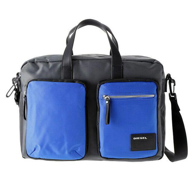 ディーゼル DIESEL バッグ X03000 P0409 H5970 2way ビジネスバッグ 斜めがけショルダー ブリーフケース GREY/BLUE/BLACK グレー+ブルー+ブラック