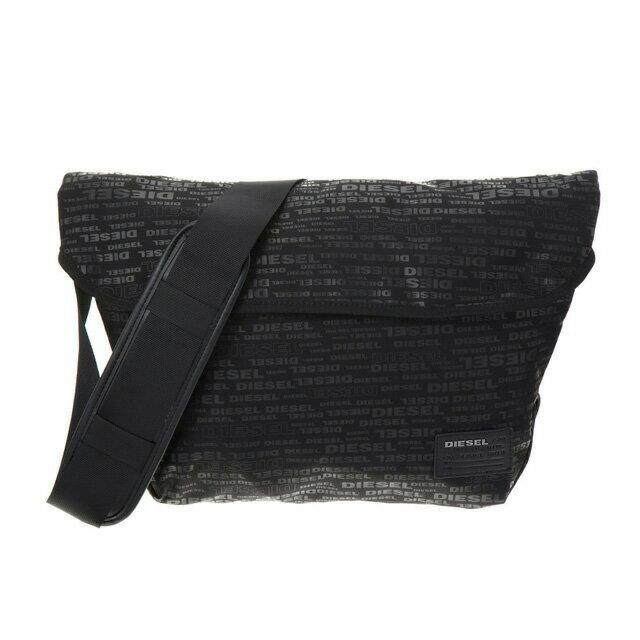 ディーゼル DIESEL バッグ X04326 PR027 H5839 メッセンジャーバッグ 斜めがけバッグ ALLOVER LOGO ブラックロゴ柄+レッド系