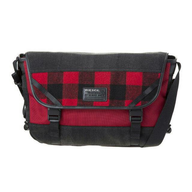 ディーゼル DIESEL バッグ X04600 P1426 H6049 メッセンジャーバッグ 斜めがけバッグ RED TARTAN/GREY DENIM レッドタータンチェック+グレー系+レッド