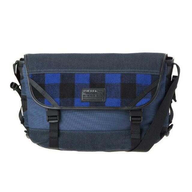 ディーゼル DIESEL バッグ X04600 P1426 H6476 メッセンジャーバッグ 斜めがけバッグ BLUE TARTAN/BLUE DENIM ブルータータン+ブルー