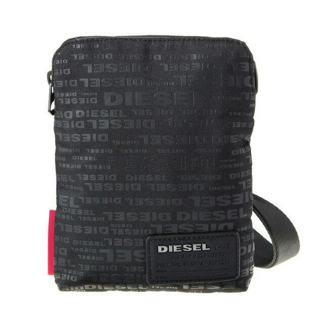ディーゼル DIESEL バッグ X04815 PR027 H5839 斜めがけバッグ ミニショルダー ALLOVER LOGO ブラックロゴ柄+レッド系