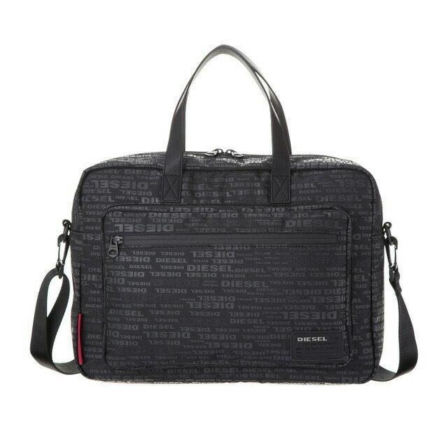 ディーゼル DIESEL バッグ X05185 PR027 H5839 2way ビジネスバッグ 斜めがけバッグ ブリーフケース ALLOVER LOGO ブラックロゴ柄+レッド系