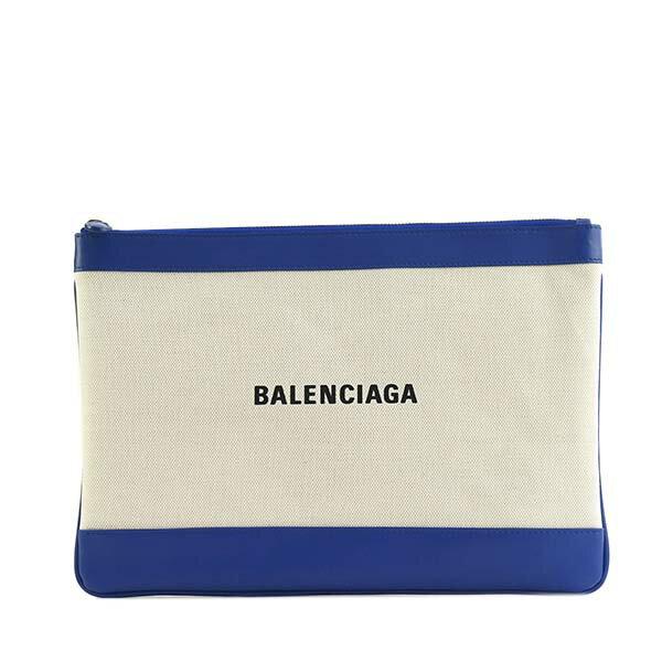 バレンシアガ BALENCIAGA クラッチバッグ ポーチ 420407 AQ37N 4181 NAVU CLIP M NATUREL/BLEU RO ブルー+ナチュラルベージュ