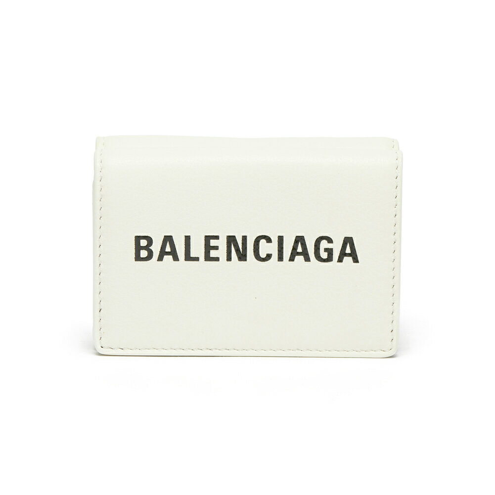 バレンシアガ BALENCIAGA 財布 折りたたみ財布 三つ折り財布 ミニウォレット 516402 DLQ4N 9060 EVERYDAY LOGO MINI WALLET BLANC/L NOIR ホワイト