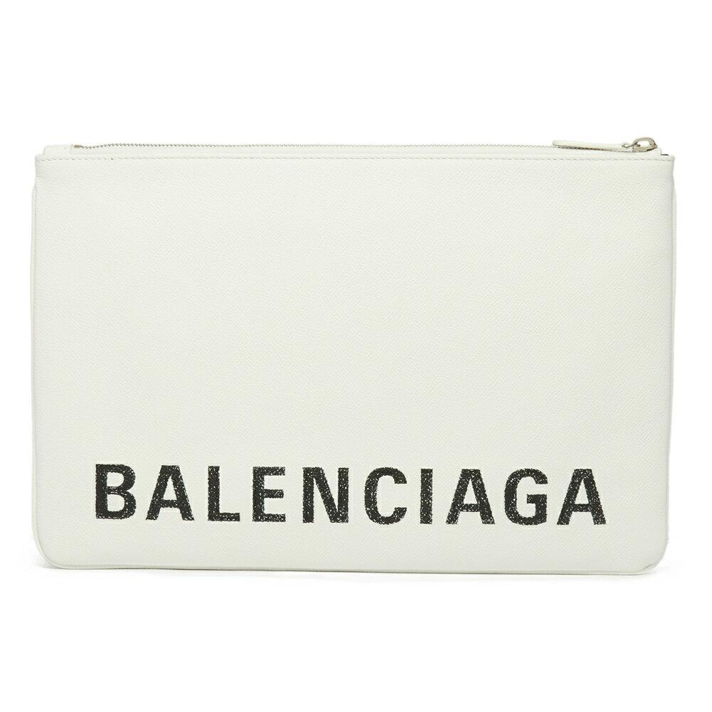 バレンシアガ BALENCIAGA クラッチバッグ ポーチ 529313 0OTA3 9000 VILLE POUCH L BLANC/L NOIR ホワイト