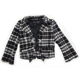 韓国 子供服 ラブフォーエタニティ LOVE FOR ETERNITY ビジューボタン付 ジャケット 単品 スーツ 女の子 120cm ブラックチェック柄 3033