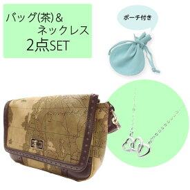 【母の日福袋】送料無料 ショルダーバッグ×ネックレス 2点セット福袋 sale-fuku-bag2 地図柄 ブラウン eluge エルジュ ハート 女性 レディース