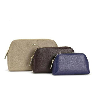 FURLA FURLA pouch-type press leather leather cosmetic pouch cosmetic case wristlet vanity pouch women's popular new regular brand birthday Christmas white mother's Day Gift Giveaway women he woman ISABELLE EI20 757084 beige + Brown series + blue