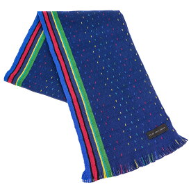 ポールスミス マフラー Paul Smith ATPD641D S948 スカーフ ウール 47 BLUE ブルー+グリーン+ピンク系マルチストライプ