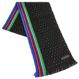 ポールスミス マフラー Paul Smith ATPD641D S948 スカーフ ウール 79 BLACK ブラック+ピンク+ブルー+グリーン系マルチストライプ