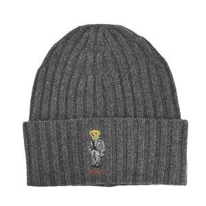 ラルフローレン Ralph Lauren ポロラルフローレン Polo Ralph Lauren 帽子 ニット帽 ニットキャップ ビーニー キャップ PC0355 012 ポロベア CHALK STRIPE BEAR HAT チョークストライプ ベア ハット CHARCOAL グレ