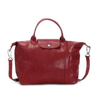The latest sale popularity leather red rouge brand handbag lady's at ロンシャンル プリアージュ LONGCHAMP キュイール folding tote bag shoulder bag 2WAY bag bias