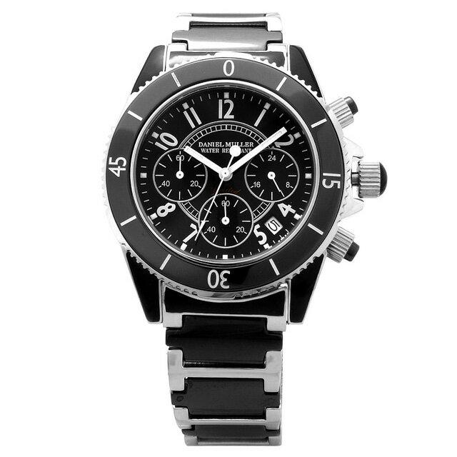 DANIEL MULLER ダニエルミューラー 腕時計 セラミック メンズ クロノグラフウォッチ ステンレス セラミック ブラック 送料無料