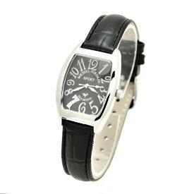 ミッシェルジョルダンスポーツ michel Jurdain SPORT 腕時計 天然ダイヤモンド入り SSトノー型 レディース ウォッチ ブラック 送料無料