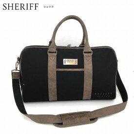 SHERIFF シェリフ ゴルフ 帆布ボストンバッグ ウエスタンシリーズ SFW-009 W480×D240×H290 シューズ収納付 BLACK/MOCHA BB166