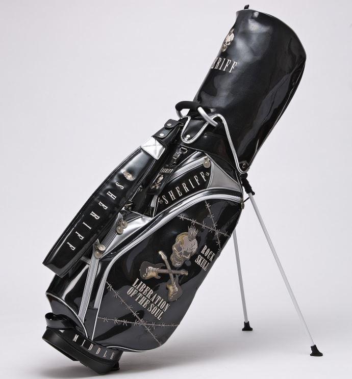 SHERIFF シェリフ スカルシリーズ ゴルフ 高級エナメル スタンド式キャディバッグ 9.0型 SFS-005 Black/Silver