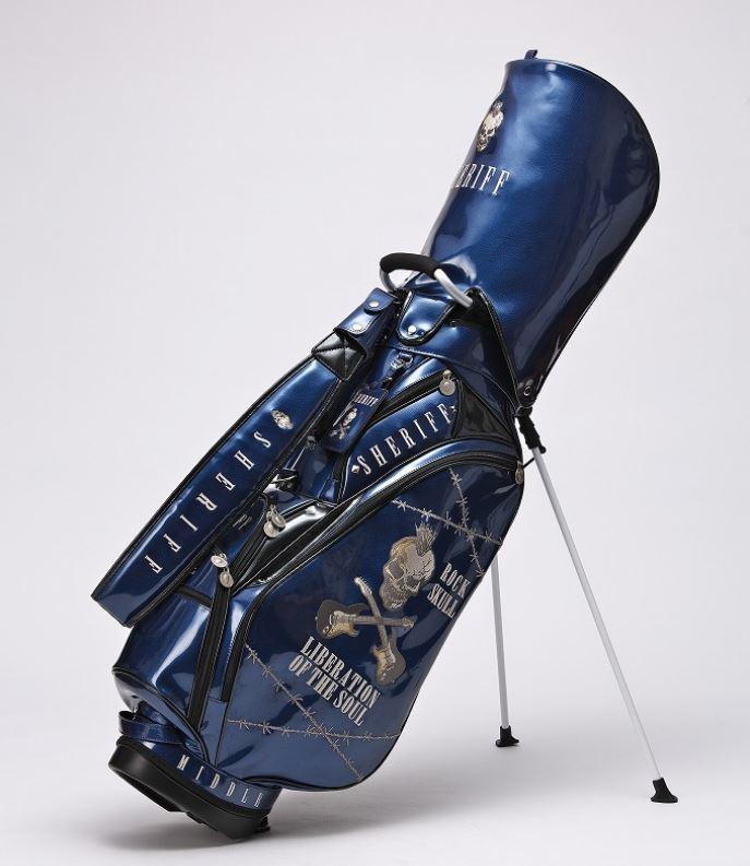 SHERIFF シェリフ スカルシリーズ ゴルフ 高級エナメル スタンド式キャディバッグ 9.0型 SFS-005 Blue/Black