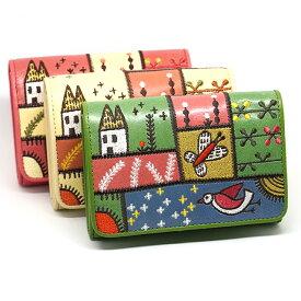 ホコモモラ デ シビラ 二つ折り財布 ミニ財布 5388001 カンポ ピンク ベージュ グリーン Jocomomola de Sybilla スペイン 刺繍 草原 野原 パッチワーク