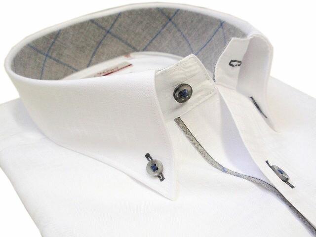 【News CLASSIC】スリムフィット ホワイトチェック柄ボタンダウンシャツ 送料無料【あす楽対応】【送料無料】【コンビニ受取対応商品】