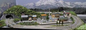 「送料込み」鉄道模型ジオラマレイアウトNゲージ用複線[90cm×60cm]引き込み駅のある町(照明付き)●注文製作●90x60−7