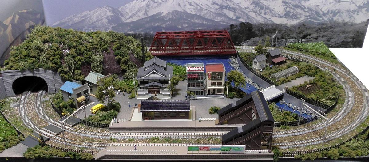 「送料込み」鉄道模型ジオラマレイアウトNゲージ用 複線[90cm×60cm]赤い鉄橋のある町●注文製作●90x60−10