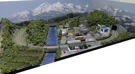 「見つけたらラッキー」「送料込み」鉄道模型ジオラマレイアウトNゲージ用単線[90cm×60cm]山村の風景(照明付き)●注文製作●90x60−2