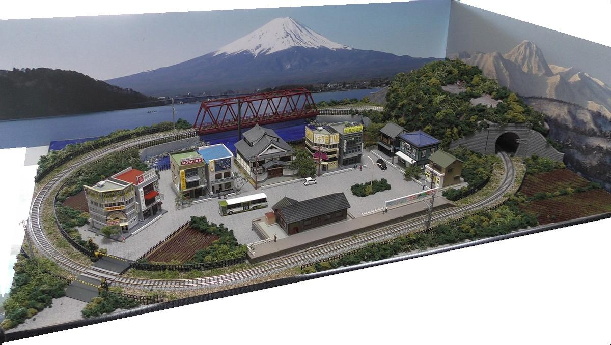 「送料込」鉄道模型ジオラマレイアウトNゲージ用 単線[90cm×60cm]トラス橋のある町●注文製作●90x60−7