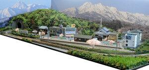 「送料込み」鉄道模型ジオラマレイアウトNゲージ用 単線[120cm×60cm]引き込み駅のある春の昭和の駅前●注文製作●120x60−6