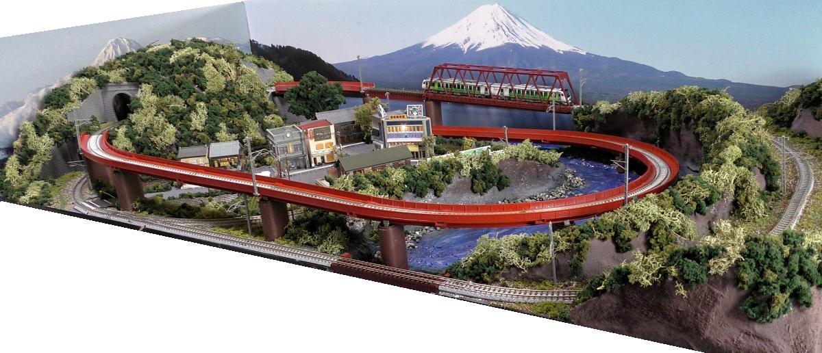「送料込み」鉄道模型ジオラマレイアウトNゲージ用 単線[120cm×60cm]ループ橋のある町 照明付●注文製作●120x60−2