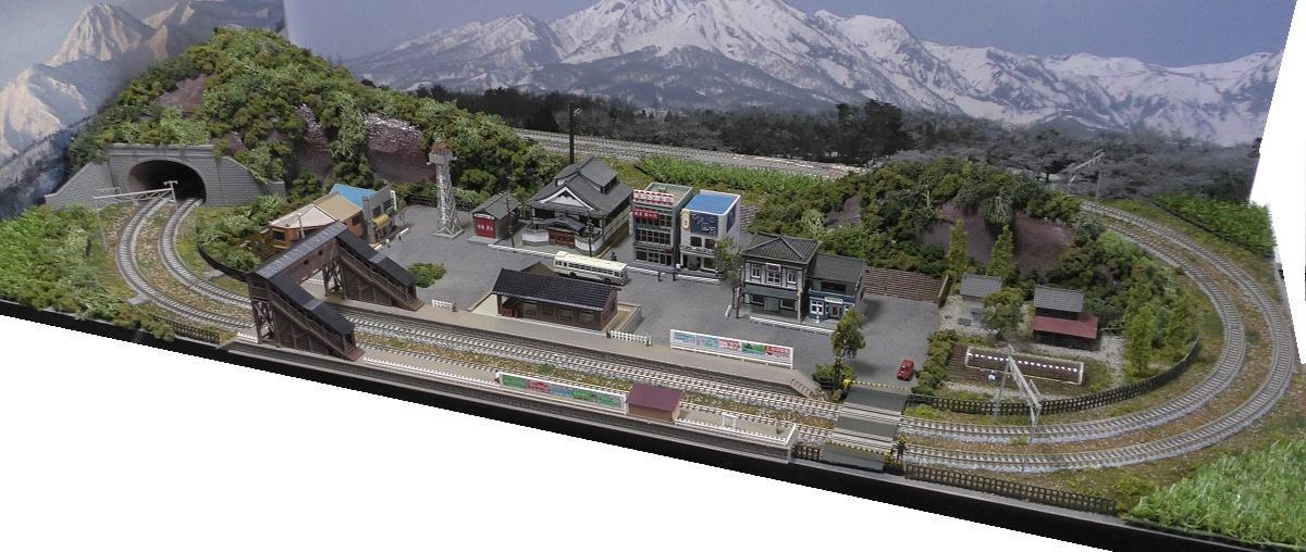 「送料込」鉄道模型ジオラマレイアウトNゲージ用 複線[120cm×60cm]畑のある昭和の町2●注文製作●120x60−24