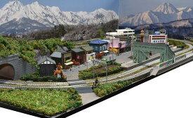 「送料込み」鉄道模型ジオラマレイアウトNゲージ用 複線[120cm×60cm]2線ヤードのある町●注文製作●120x60−30