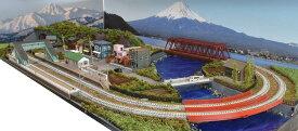 「見つけたらラッキー」「送料込み」鉄道模型ジオラマレイアウトNゲージ用 複線[120cm×60cm]赤い鉄橋がある町●注文製作●120x60−4